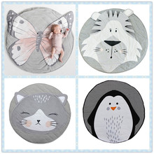 Cartoon Animals Baby Play Mats Pad Toddler Kids Crawling Blanket Round Carpet Rug Toys Mat For Children Room Decor Photo Props