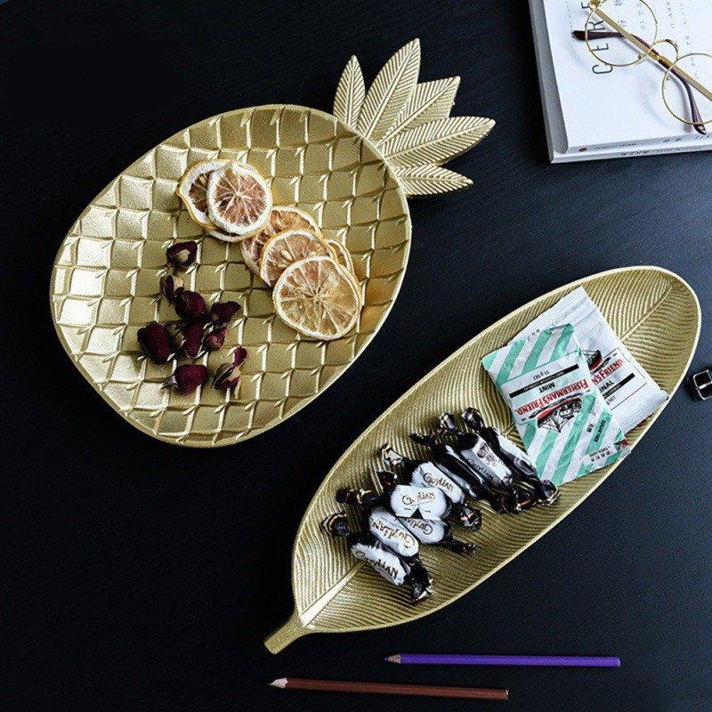 Nordic Pineapple Leaf Shape Dessert Bowls Fruit Plate Golden Candy Storage Tray Durable Decoration Crafts Home Bowls