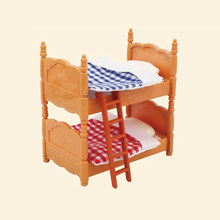 Mini real Bedroom furniture Double bunk bed children Bed blanket model miniature playhouse set Accessory toy for kid(no doll)