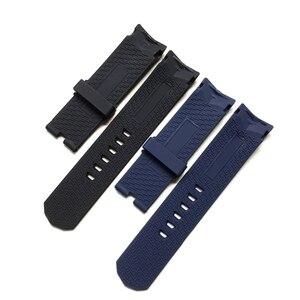 Image 2 - 22 ミリメートル 24 ミリメートル黒青シリコーンゴム時計バンド corum admirals カップ wacth ストラップリストバンドブレスレットなしバックル