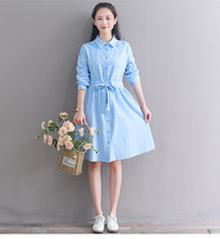 Lolita Sukienki Women Cute Dress Pink Blue Floral Embroidery Sukienki Dress Cotton Linen Sukienki Kawaii Korea Shirt Dress PV283(China)