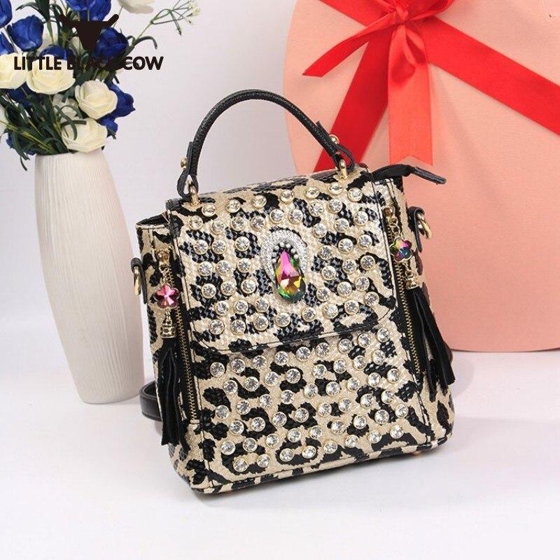 Rue mode petit sac à dos femme diamants bureau dame bandoulière imprimé léopard sac à dos seau Bolsos Mujer voyage sac à dos