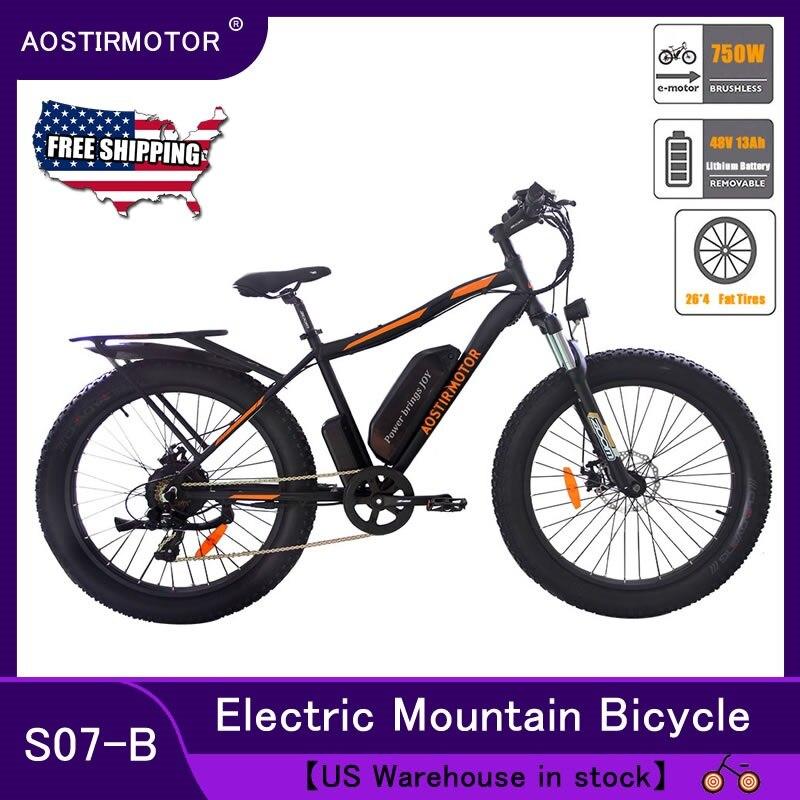 AOSTIRMOTOR Electric Bike 750W Snow Bike Electric Bicycle Mountain Bike 26inch 4.0 Fat Tire ebike 48V 13Ah Lithium Battery