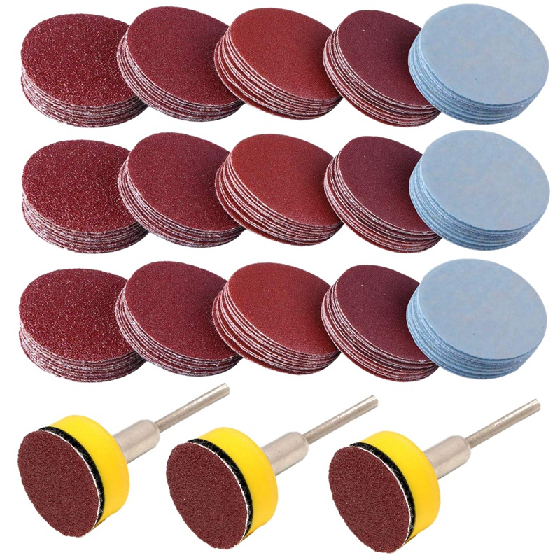 300PCS 1 Inch Sanding Discs Hook and Loop Grinding Discs with Sticker Backer Plate 1/8 Shank Polishing for Sander Grinder Drill