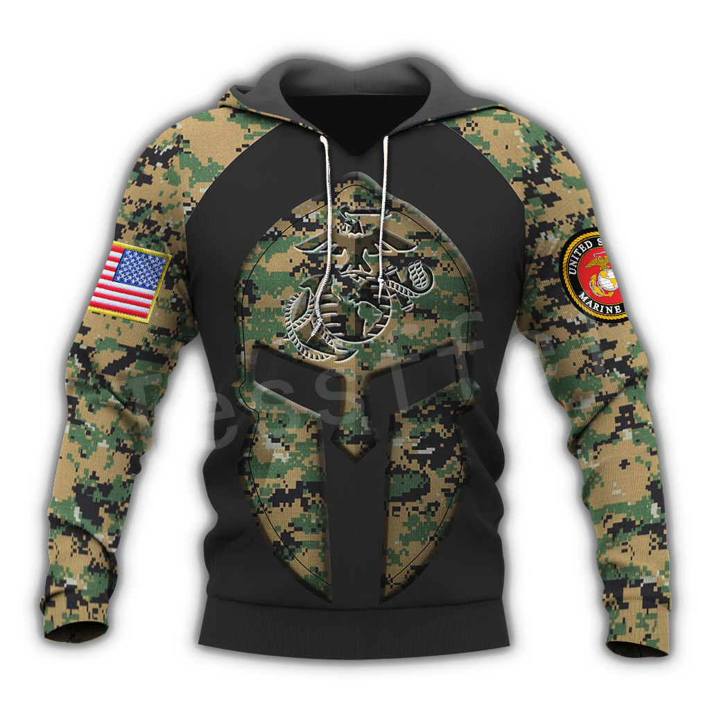 Tessffel America Marine Camo Skull Pullover Soldier Army NewFashion Harajuku 3DPrint Zip/Hoodie/Sweatshirt/Jacket/Men/Women B-13
