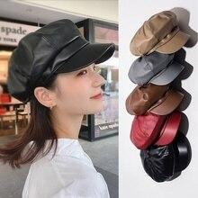 Women Hat Cap Beret Octagonal-Cap Winter Fashion Female PU