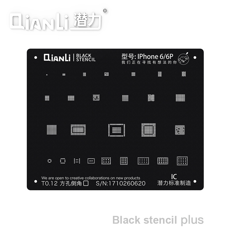 Qianli Black Plus BGA Reballing Stencil For IPhone X XS XR XSMAX 8P 8 7P 6P NAND IC Chip Square Hole Stencil