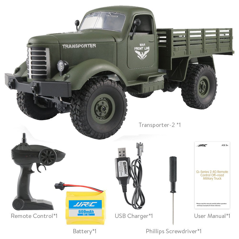 JJRC Truck Remote Control Truck ,FINESER JJRC Q61 RC 1:16 2.4G Remote Control 4WD Truck ,Off-Road Military Truck Car