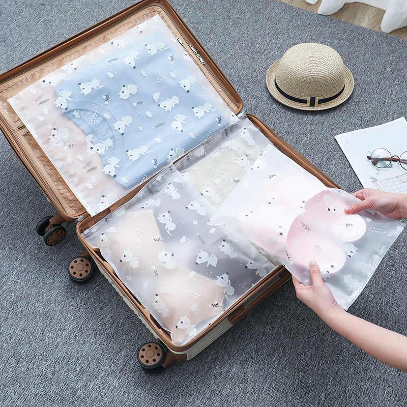 Cartoon Tier Transparent Kosmetik Tasche Reise Mäppchen Portable Storage Tasche Wasserdichte Schuhe Kleidung Unterwäsche Sortierung