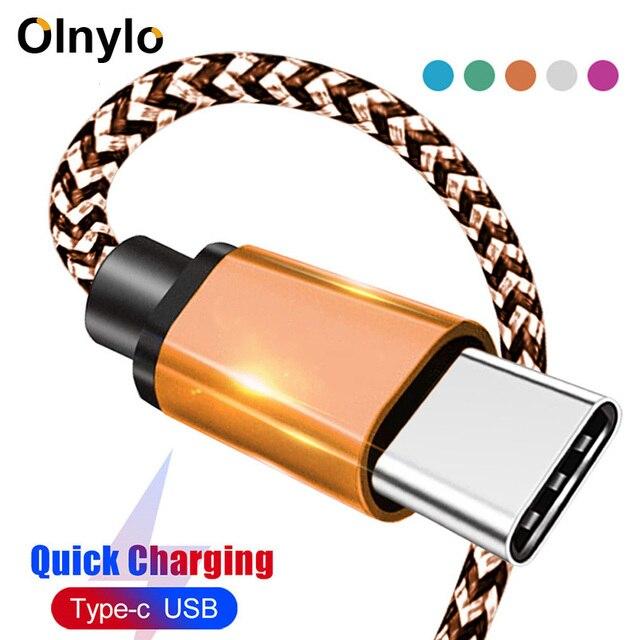 Olnylo USB Type C 케이블 (One Plus 6 용) 5t 빠른 충전 USB C 고속 충전 USB 충전기 케이블 (삼성 Galaxy S10 S9 S8 Plus 용)