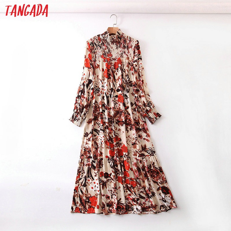 Tangada Spring Fashion Women Red Flowers Print Maxi Dress Pleated Long Sleeve Ladies Long Dress Vestidos QB80