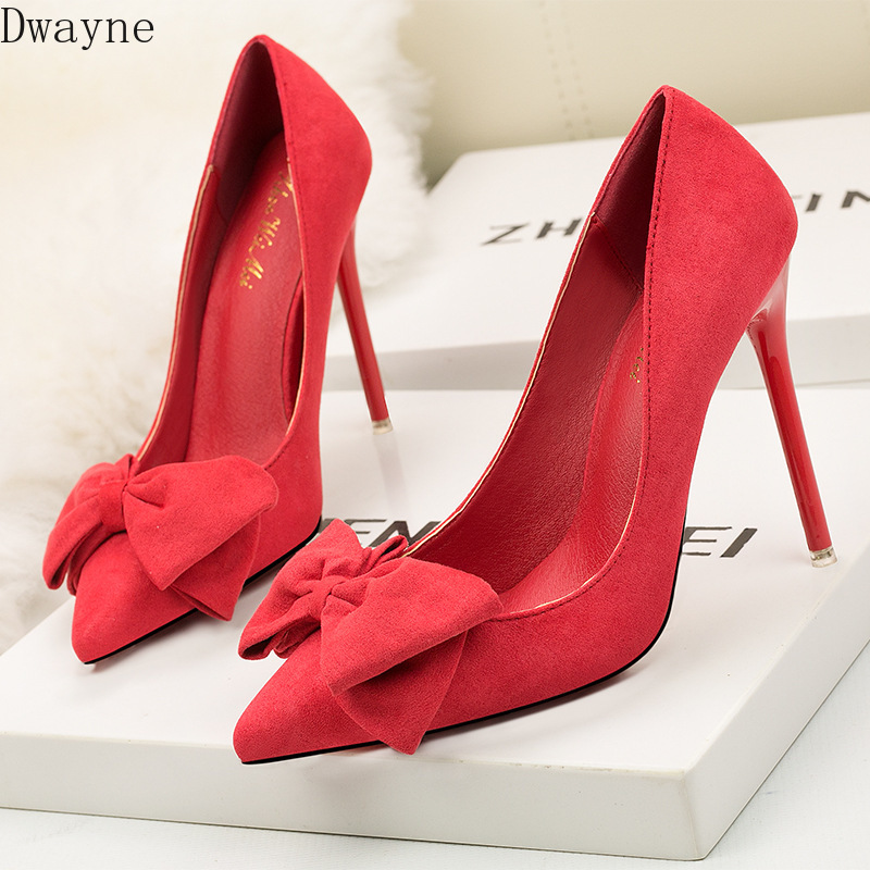 2019 Spring New Fashion Sweet Stiletto Super High Heel Women's Shoes Shallow Mouth Pointed Sexy Suede Bow Women's Shoes