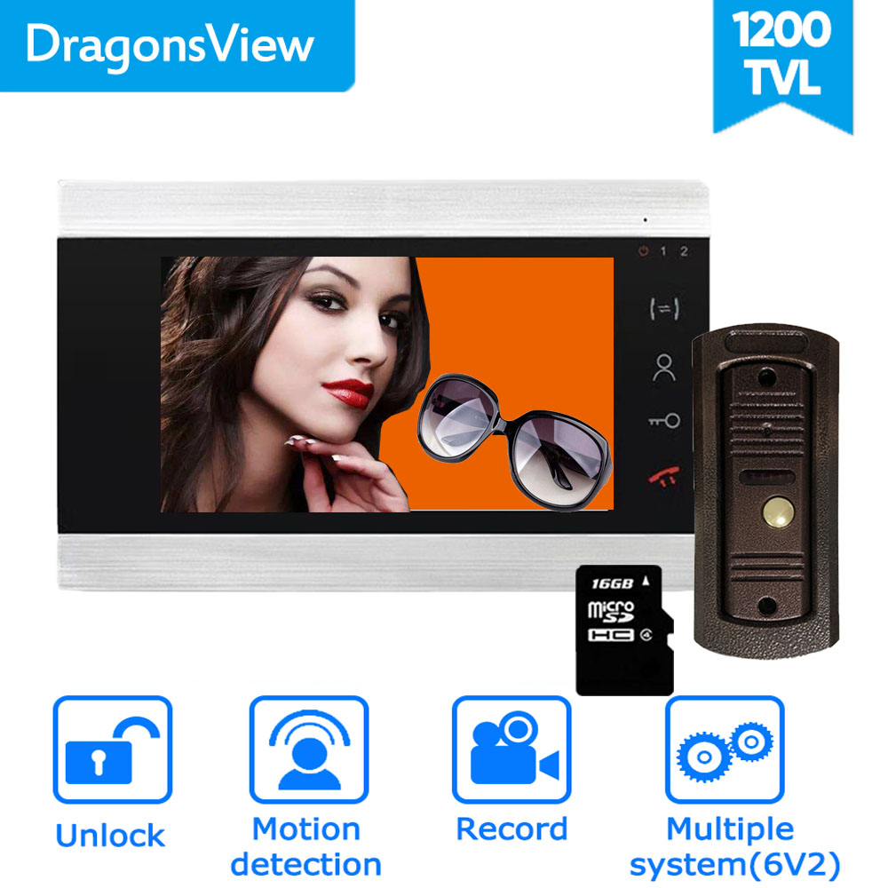 Dragonsview 7 Inch Video Door Phone System Home Intercom Unlock Record HD Doorbell With Camera Motion Detection Unlock 16GB