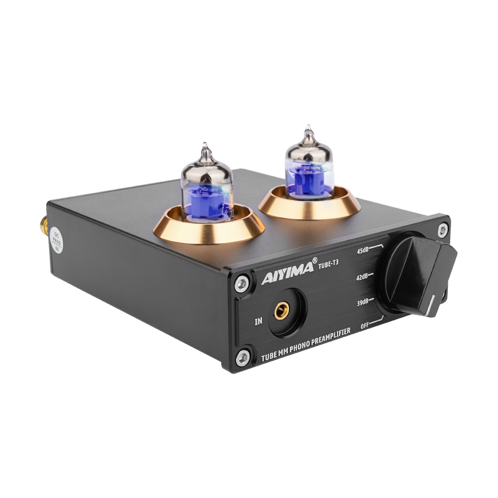 AIYIMA 6J2 Vacuum Tube MM Phono Turntable Preamplifier HiFi Stereo Phonograph Preamp Amplifier Vinyl Record Player For Home DIY