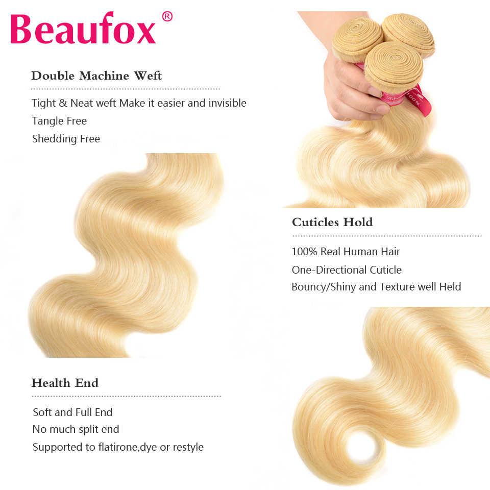 Beaufox 613 blond wiązki z Frontal peru ciało fala ludzkich włosów 4 wiązki z Frontal zamknięcie 13x4 Remy włosy 613 przedłużanie włosów