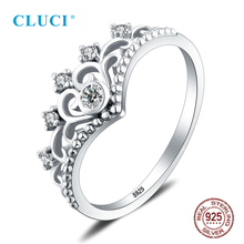 CLUCI Genuine 925 Sterling Silver Big Crown Women Ring Zircon Jewelry Valentine Gift for