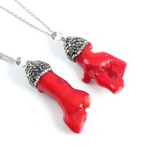 High Quality Natural Stone Pendant Choker Necklace Jewelry Red Coral Irregular for Women Gift 18