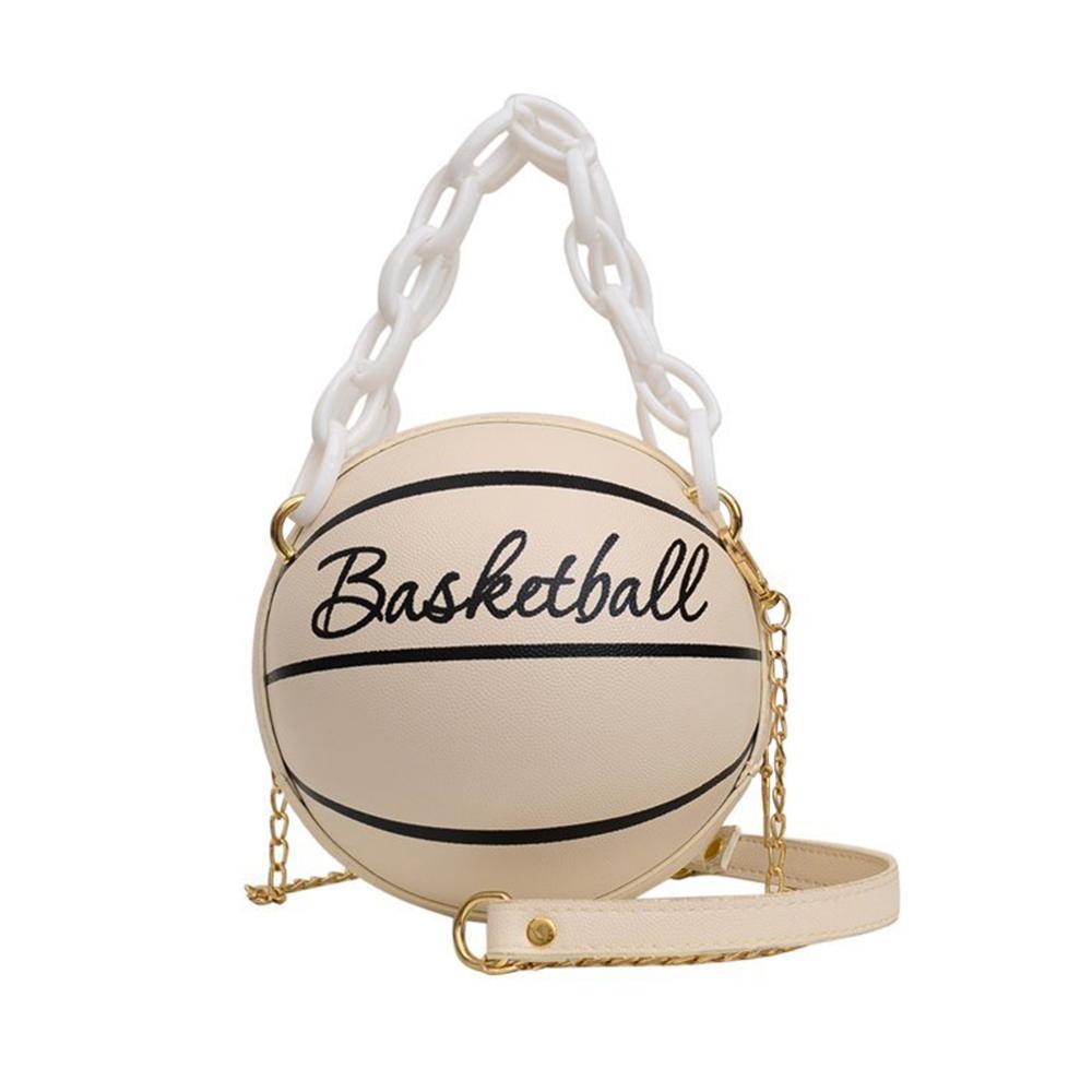Новая индивидуальная женская кожаная баскетбольная сумка, новинка 2021, кошельки с мячом для подростков, женские сумки через плечо, ручные сумки через плечо с цепочкой-5