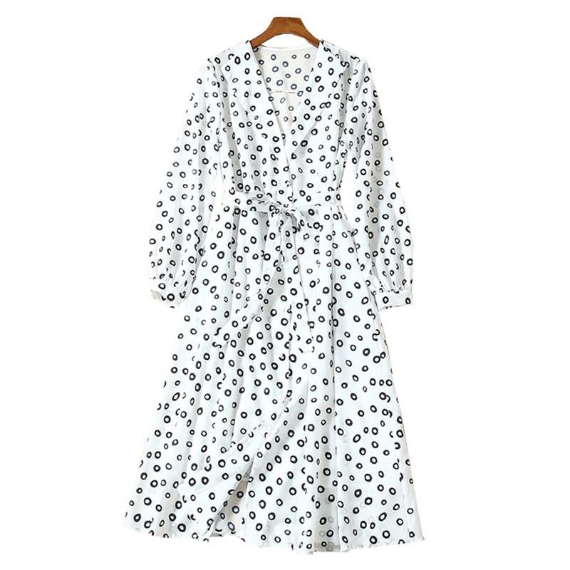 여성 의류 캐주얼 레이디 착용 랩 v 넥 셀프 타이 벨트 중간 길이 긴 소매 버블 프린트 화이트/그린 실크 홀리데이 드레스-에서드레스부터 여성 의류 의  그룹 2