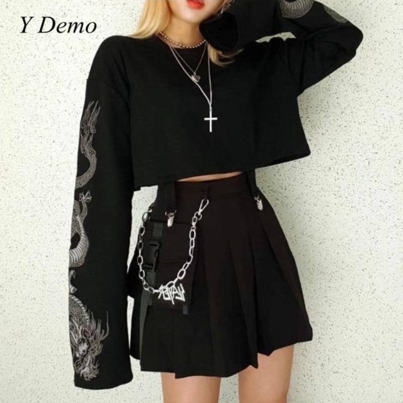 Y Demo Gothic Dragon Embroidery Women's T-shirt Long Sleeve Punk Sweatshirt Loose Short Sexy Girl Crush T-shirts