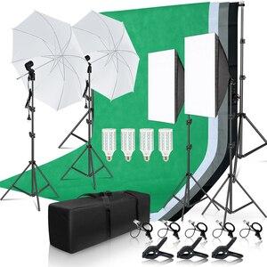 Image 1 - Photo studio kit de iluminação 2x3m sistema de suporte de fundo com 4pcs pano de fundo fotografia led luz softbox guarda chuva tripé suporte