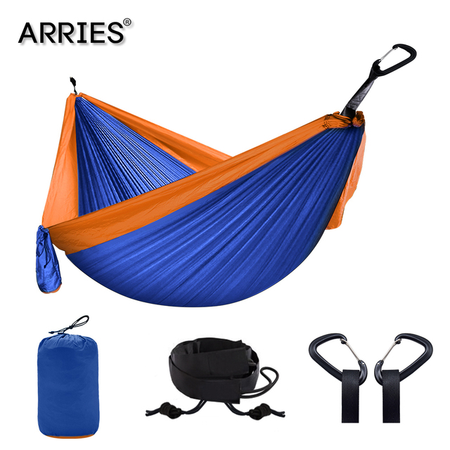 Nylon Double Person Hammock Adult Camping Outdoor Backpacking Travel Survival Garden Swing Hunting Sleeping Bed Portable Hammock 2
