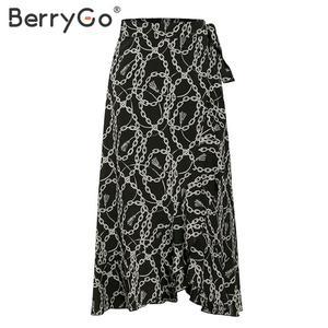 Image 5 - BerryGo zarif zincir baskı midi etekler womens asimetrik dantel up uzun mini etek kadın 2020 bahar yaz OL bayanlar etekler