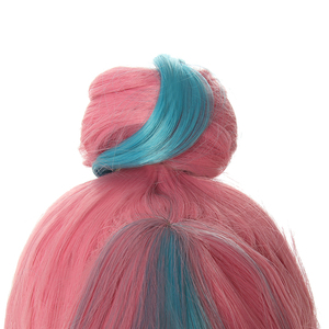 Image 4 - L email wig LoL True Damage Qiyana Cosplay Wigs Prestige Pink Mix Blue Wigs with Bangs Cosplay Wig Heat Resistant Synthetic Hair