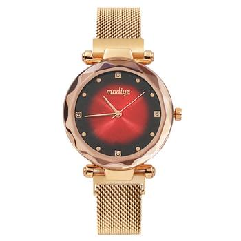 цена на Luxury Women's Watches Aurora Rose Gold Magnetic Mesh Fashion Ladies Dress Clock Diamond Starry Sky Wrist Watch relogio feminino