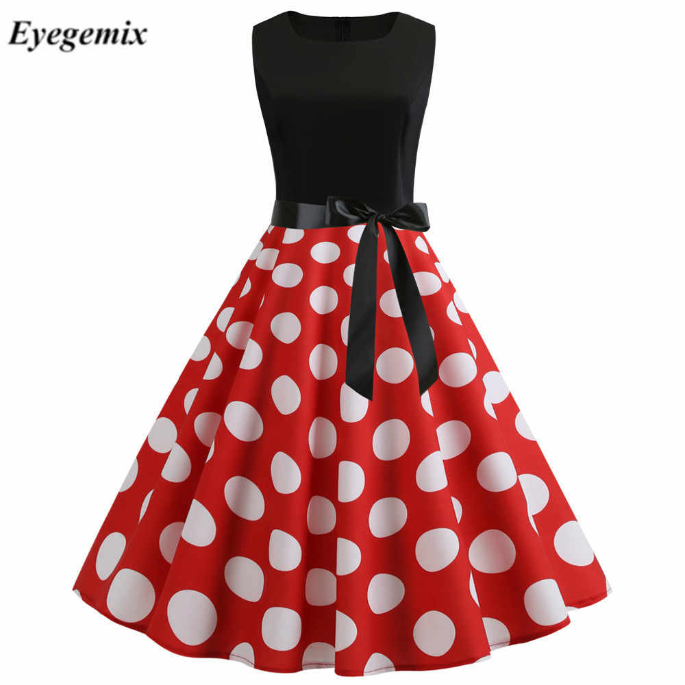 Wit Rood Patchwork Polka Dot Zomer Jurk Vrouwen Vintage 50 S 60 S Pin Up Rockabilly Jurk Plus Size Gewaad party Office Vestidos
