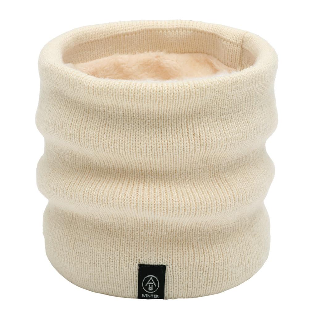 Winter Scarf Women'S Neck Scarves Solid Snood Neck Warmer Fleece Knitted Scarves Shawl Cowl Men'S Scarf Szaliki I Chusty #D8