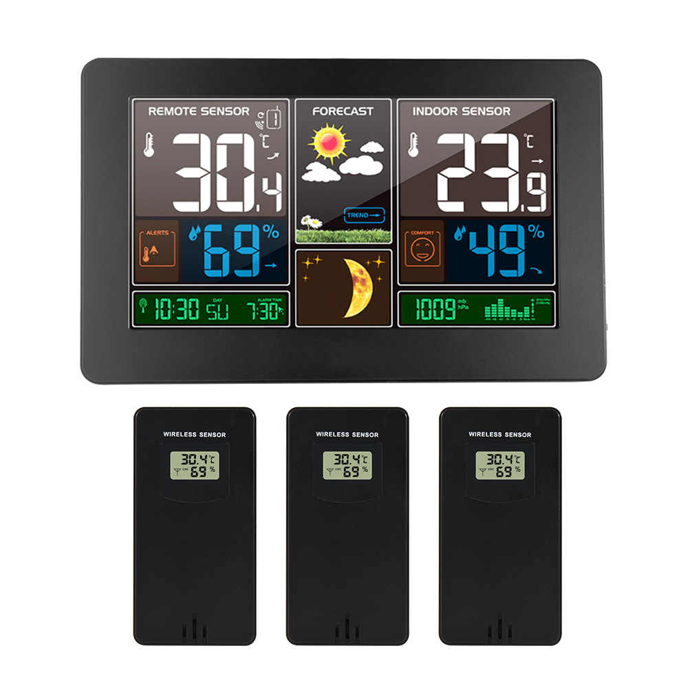 Jam Dinding Digital LCD Weather Station 3 Sensor Nirkabel Indoor Outdoor Thermometer Hygrometer Barometer Cuaca Alarm Modern