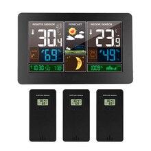 קיר שעון דיגיטלי תחנת מזג אוויר 3 חיישן אלחוטי מקורה חיצוני מדחום מדדי לחות ברומטר תחזית מודרני שעון 40 ℃