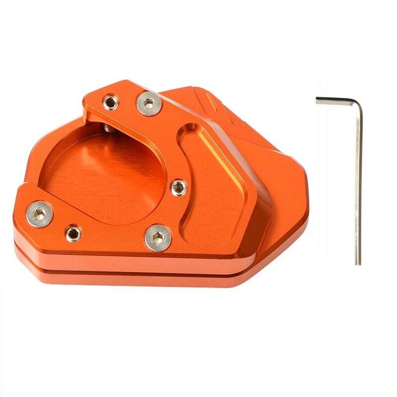 Motorcycle Kickstand Side Stand Enlarger Extension Enlarger Pate Pad For KTM DUKE 200 250 390 RC390 690 990 950(Orange)