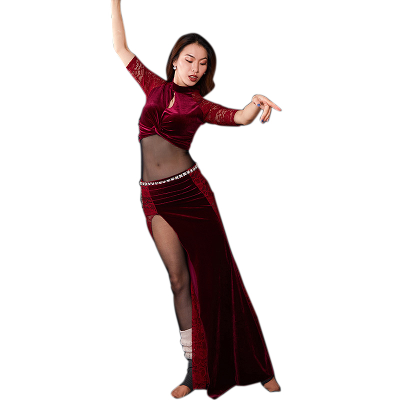 Women Velvet Belly Dance Costume Set Autumn Winter Bellydance Practice Stage Performance Outfit Dancer Competition Training Suit