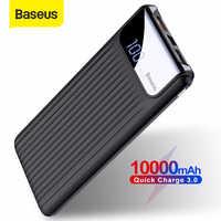 Baseus 10000 mah power bank carga rápida 3.0 usb bateria externa qc3.0 carregador portátil powerbank com display digital