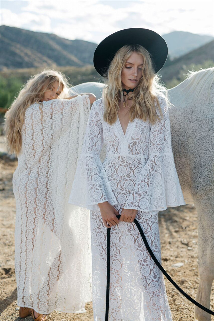 Europe And America Hot Selling Pure Lace Bell Sleeve Slit Long Sleeve Long Skirts Bikini Cover-up Holiday Beach Skirt Sun Shirt