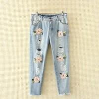 2019 Women Vintage Embroidery Casual Jeans Boyfriend Denim Pants Plus Size Harem Pants Female