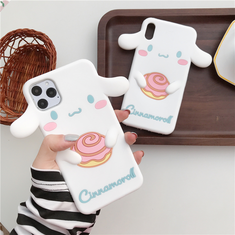 Cute Cartoon Dog Case For Coque For iPhone 11 Pro X XR XS Max 5 5S SE 6 6S 7 8 Plus 3D Doll Cinnamoroll Silicon Soft Phone Cover