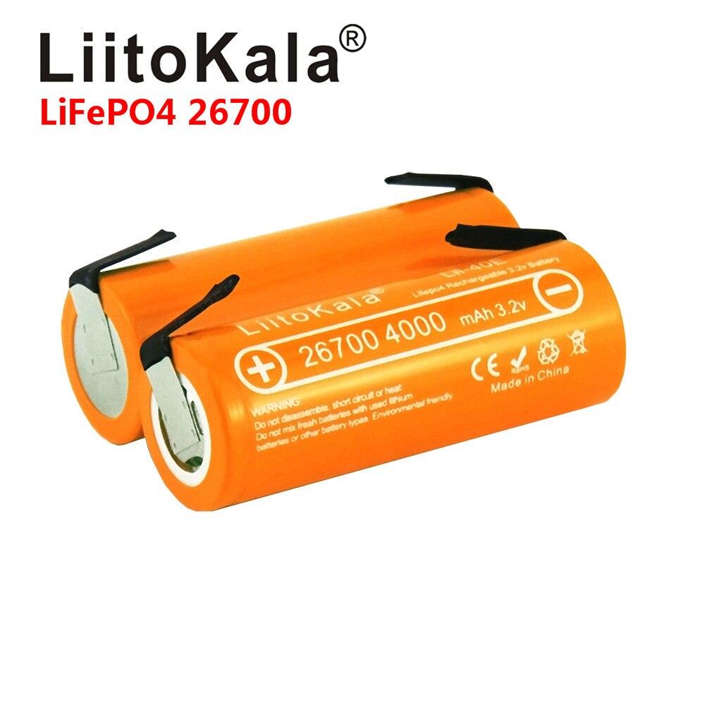 LiitoKala Lii-40E 3.2V 26700 Rechargeable LiFePO4 Battery Pack 4000mah Lithium Cell For 24V E-bike Powe +DIY Nickel Sheets