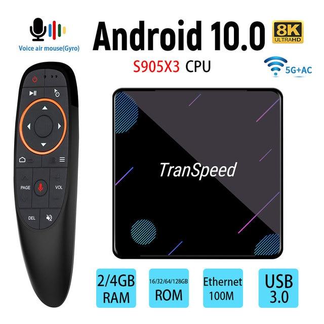 X3 Plus Amlogic S905X3 أندرويد 10.0 صندوق التلفزيون 4GB 32G 64G 128G 100M واي فاي 4K 8K بلوتوث مساعد صوت مجموعة صندوق