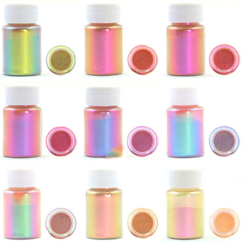 9 Colors Chameleons Pigment Pearlescent Epoxy Resin Glitter Magic Discolored Powder Resin Colorant Jewelry Making Tools
