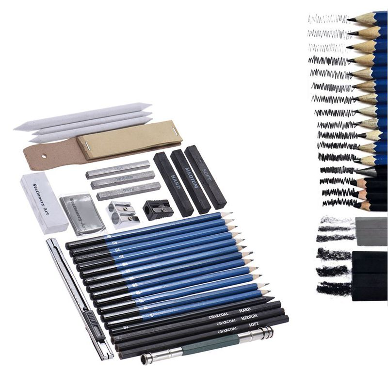 BEST33 Pcs Pencil Professional Drawing Sketch Pencil Kit Sketch Graphite Charcoal Pencils Sticks Erasers Stationery Drawing Supp
