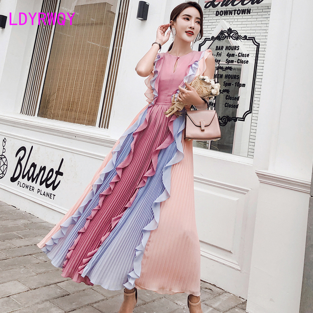 2020 Summer New Pleated Colorblock Lotus Leaf Chiffon Long  Rainbow Dress Office Lady  Cotton  Sleeveless 1