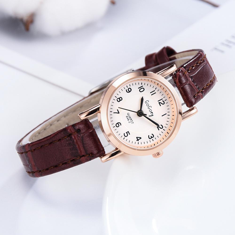Small Dial Women Fashion Quartz Watches Simple Number Scale Brown Vintage Leather Retro Ladies Wristwatches Relogio Feminino