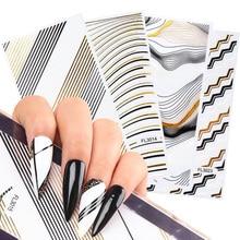 1pcs 3D Gold Black Strip Lines Nail Stickers Wave Star Moon Geometric Transfer Decals Foils Manicure Decorations TRFL3013-3024