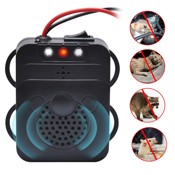 Vehicle Rodent Repellent Car Under Hood Animal Pest Repeller Ultrasonic Rat Deterrent Trap 12V Automobile With LED Flashlight 1