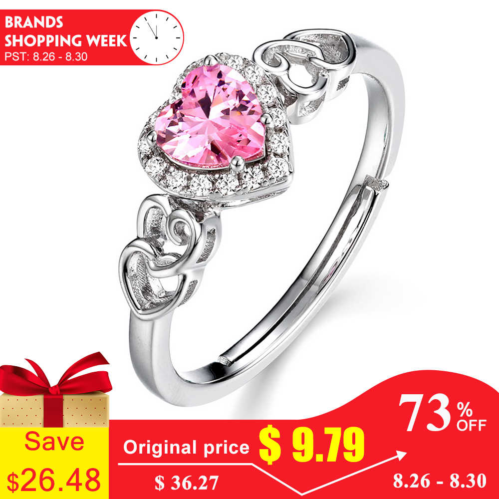 ALLNOEL 925 Sterling Silver Classic Heart Ring for Women Sparkling Pink Spinel Gemstone Wedding Engagement Rings Set 2019 Hot