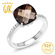 GemStoneKing 3.19 Ct Cushion Checkerboard Natural Brown Smoky Quartz 925 Sterling Silver Cocktail Rings For Women Fine Jewelry(China)
