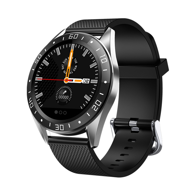 <font><b>GT105</b></font> 1.22Inch <font><b>Smartwatch</b></font> Men Women Heart Rate Blood Pressure Monitor Smart Watch with Weather Push Music Control Call Black image
